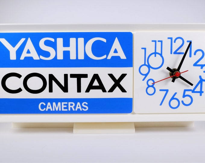 Vintage Yashica Contax Cameras Logo Promotional Quartz Wall Clock - Camera Dealer Advertisement with its Original Box & Instructions - Mint