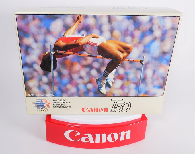 "Rare Canon T-50 ""The Official 35mm Camera of the 1984 LA Olympics"" Original Collectors Box - Near Mint Cond - Complete with Inserts"