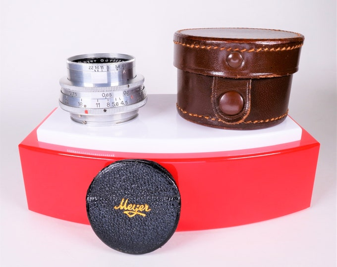 Rare Meyer Gorlitz Helioplan f/4.5 40mm Lens for Exakta & Topcon Mounts - Digitally Adaptable - with Leather Meyer Lens Cap and Leather Case