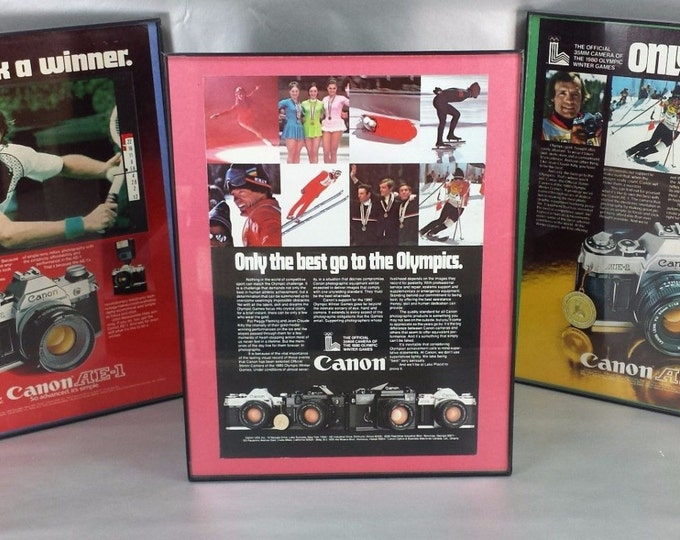 Vintage Framed Canon 1980 Winter Olympics at Lake Placid / 3 Different Camera Advertisements / Very Nice Set / F-1 AE-1 A-1