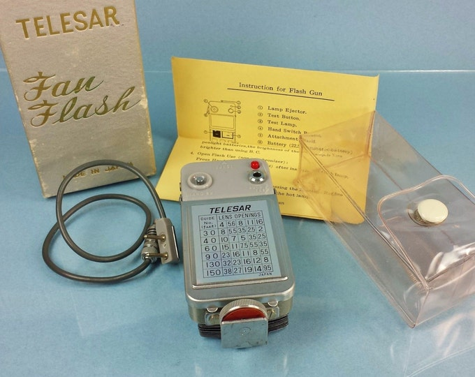 Vintage Telesar Folding Fan Flash c1955 / New in Package / Unused / Complete with Original Box Case Wire Connector Instructions