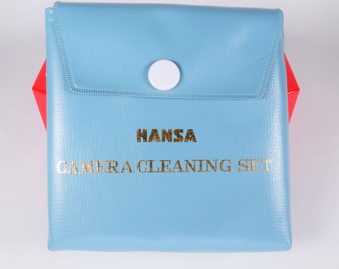 Vintage Hansa Camera Cleaning Set 1950s Japan - Vinyl Case, Lens Tissue, Instructions, Screwdriver, Cloth, Bottle & Blower - Super Cool!