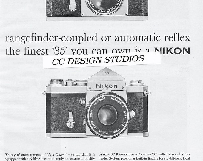 Vintage Nikon F 35mm Single Lens Reflex Magazine Advertisement / Jan 1960 / Nikon SP and F / SLR and Rangefinder Cameras