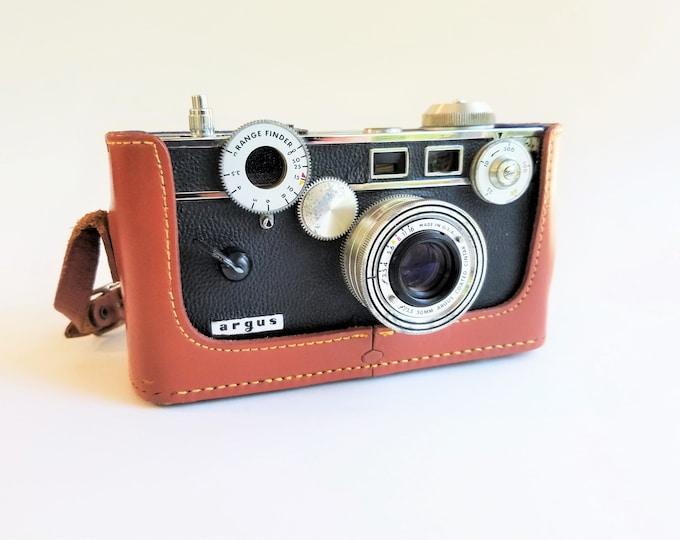 Argus Color-Matic C3 35mm Film Camera w/ Argus Leather Case and Argus Flash Unit - Vintage 1950s - Excellent Condition