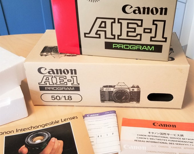 Canon AE-1 Program Presentation Box & Outer Kit Box - Empty Boxes, No Camera - Includes Foam Inserts, Lens Booklet, Warranty/Service Papers