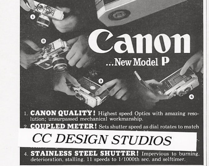 Canon Model P - Canonflex Cameras Vintage 1960 Magazine Advertisement - Canon VI / 35mm Film Camera Ads / Japan / Home - Office Decor - Gift