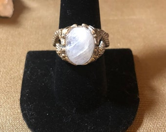 Rainbow Moonstone in .925 Sterling Silver, Adjustable Size Ring