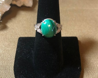 Natural Malachite set in .925 Sterling Silver, Adjustable Size Ring