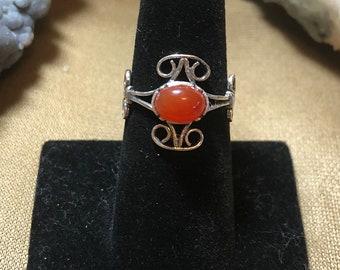 Carnelian set in .925 Sterling Silver Ring