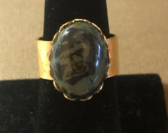 Kambaba Jasper in Gold plated, Adjustable Size Ring