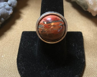 Brecciated Red Jasper in Pewter, Adjustable Size Ring