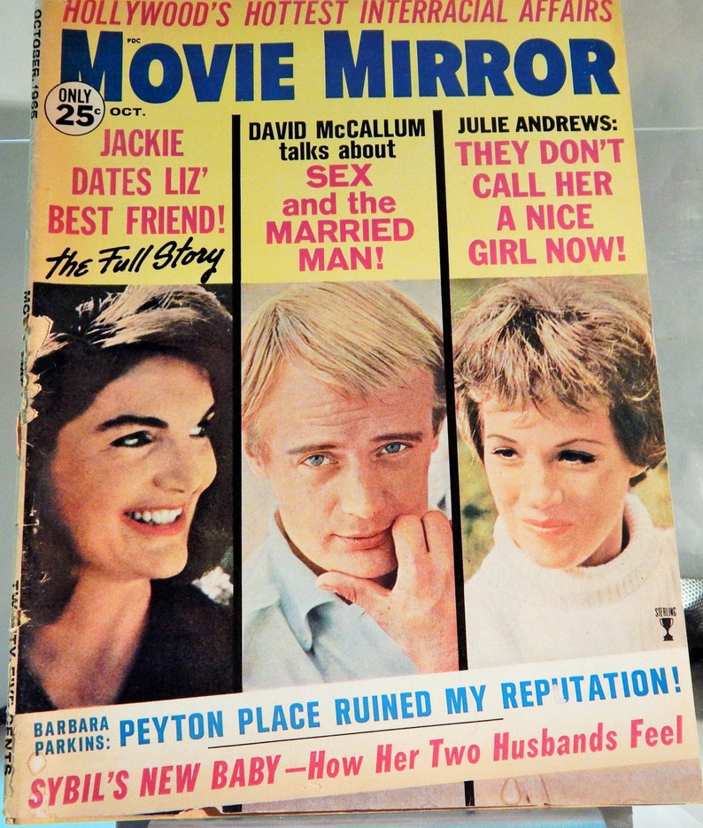 MOVIE MIRROR MAGAZINE October 1965, Jackie Kennedy, Julie Andrews, David  McCallum Color Cover