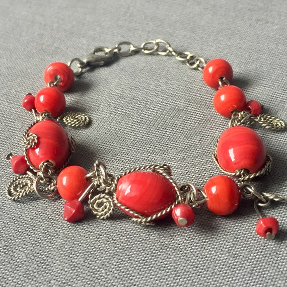 Vintage faux silver chain red beads charm bracelet  bead wedding party bangle beads boho  Retro Jewellery accessories