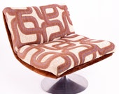 Adrian Pearsall Mid Century Tulip Base Swivel Lounge Chair with Jack Lenore Larsen Style Fabric
