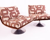 Adrian Pearsall Mid Century Tulip Base Swivel Lounge Chair with Jack Lenore Larsen Style Fabric - Pair - mcm