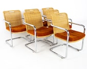 Harvey Probber Style Chromcraft Mid Century Cane Wicker and Chrome Dining Chairs - Set of 6 - mcm