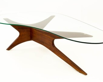 23ae6bdaa8049 Adrian Pearsall Sculptural Walnut Kidney Shaped Mid Century Modern Coffee  Table - mcm