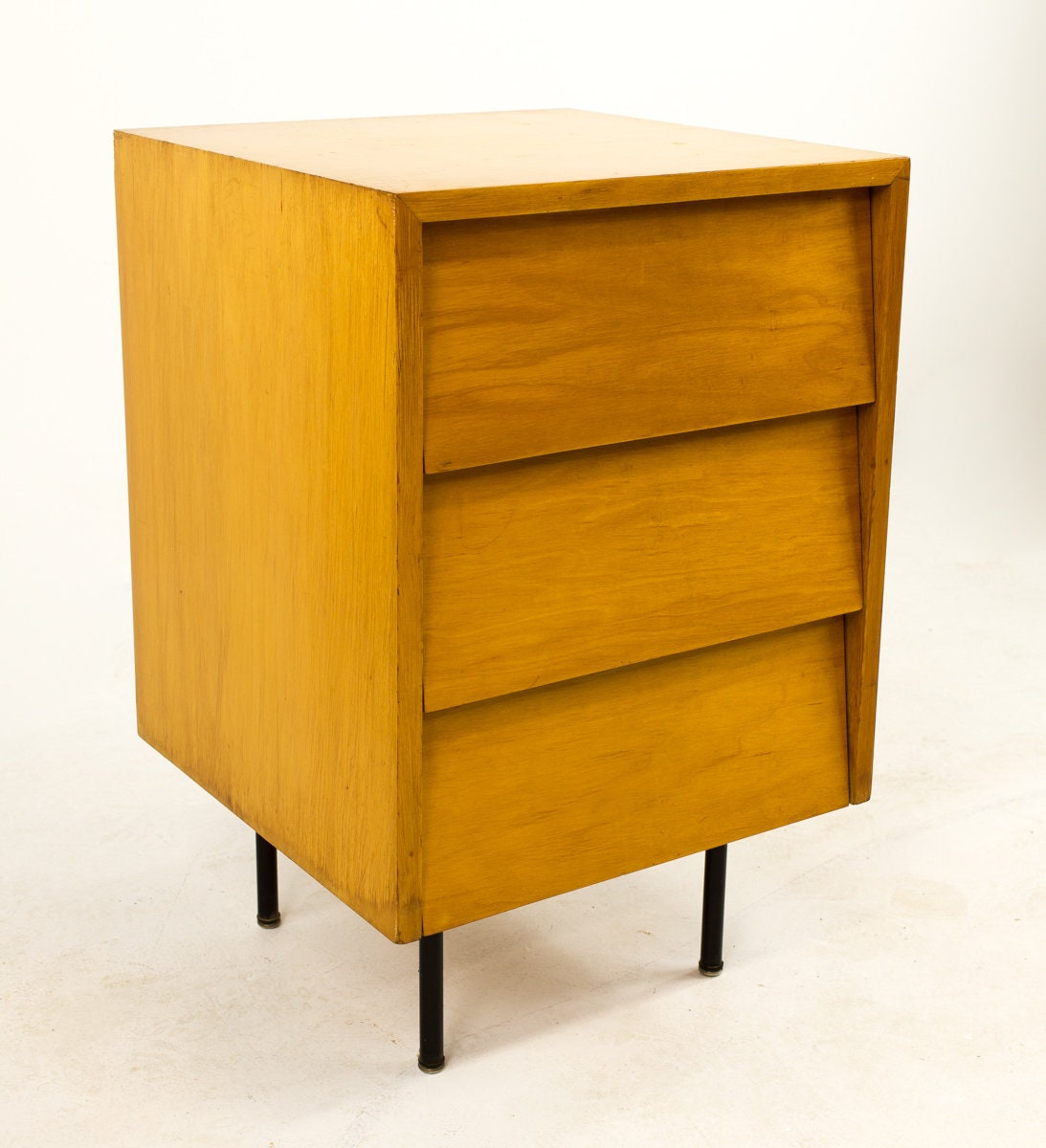 Early Florence Knoll Maple 3 Drawer Chest Dresser With Metal Legs