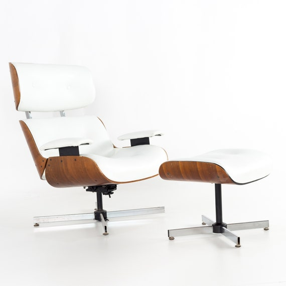 Fantastic Eames Style Plycraft White Leather And Walnut Lounge Chair And Ottoman Mcm Machost Co Dining Chair Design Ideas Machostcouk