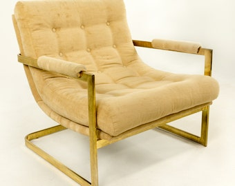 Brass Milo Baughman Style Scoop Chair