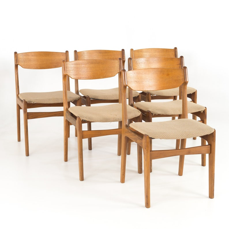 Ordinaire Erik Buck Mid Century Modern Danish Teak Dining Chairs   Set Of 6   Mcm