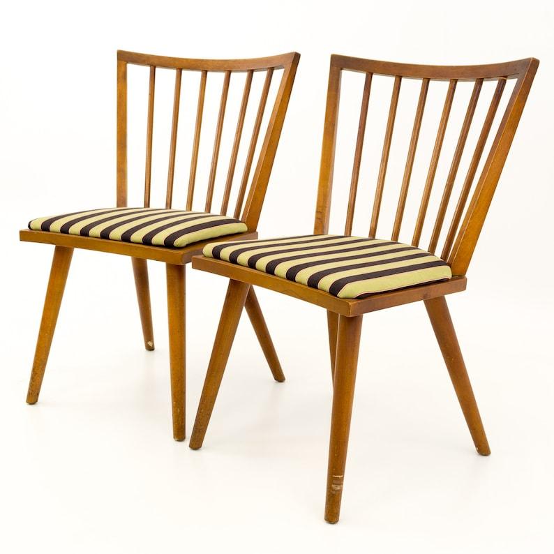 mcm Leslie Diamond for Conant Ball Mid Century Modern Windsor Dining Chairs