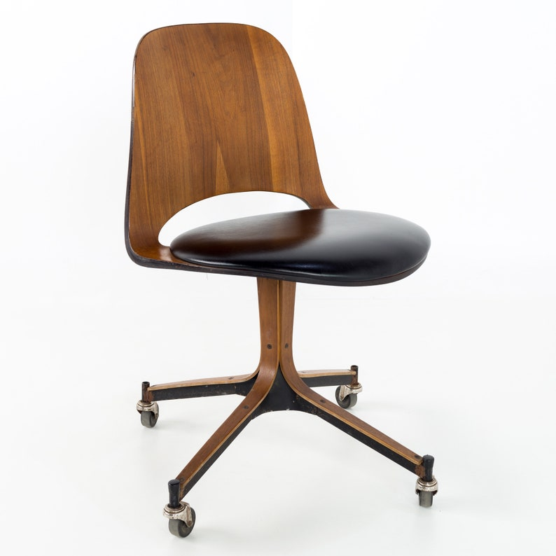 Fabulous Plycraft Mid Century Modern Walnut Desk Chair Mcm Squirreltailoven Fun Painted Chair Ideas Images Squirreltailovenorg