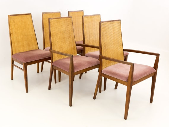 Dillingham Espirit Mid Century Caned Dining Chairs Set Of 6 Etsy