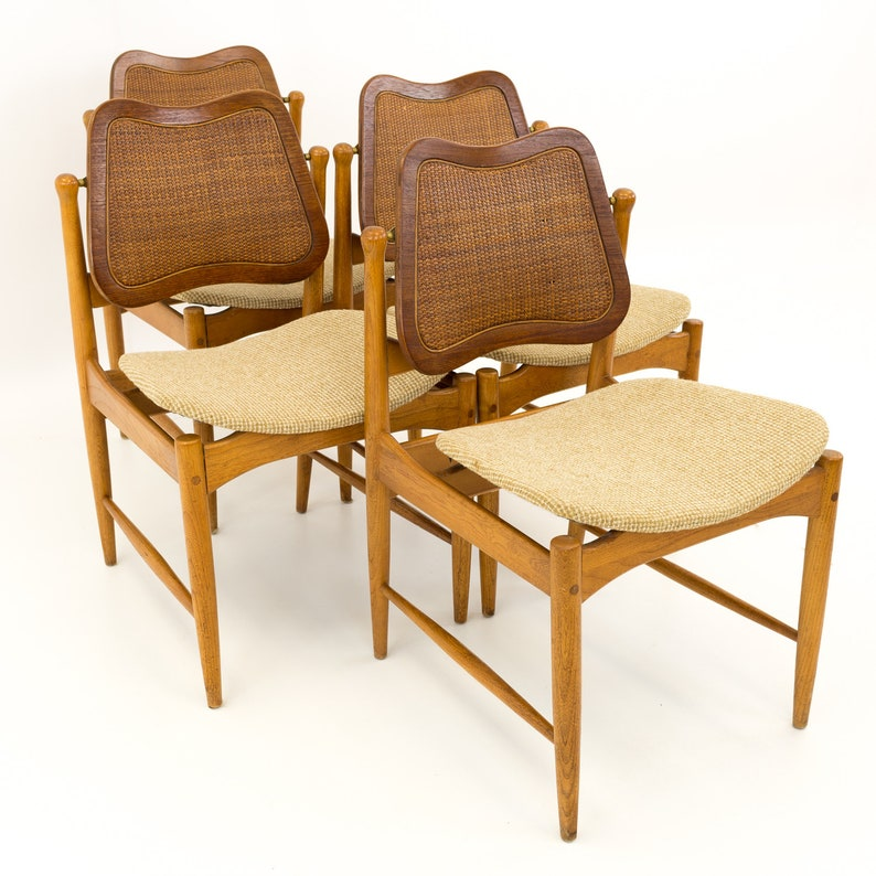 Admirable Arne Vodder Teak And Cane Mid Century Modern Dining Chairs Set Of 4 Mcm Andrewgaddart Wooden Chair Designs For Living Room Andrewgaddartcom