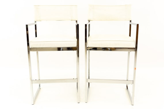Sensational Milo Baughman Style Mid Century Chrome Bar Stools Mcm Ibusinesslaw Wood Chair Design Ideas Ibusinesslaworg