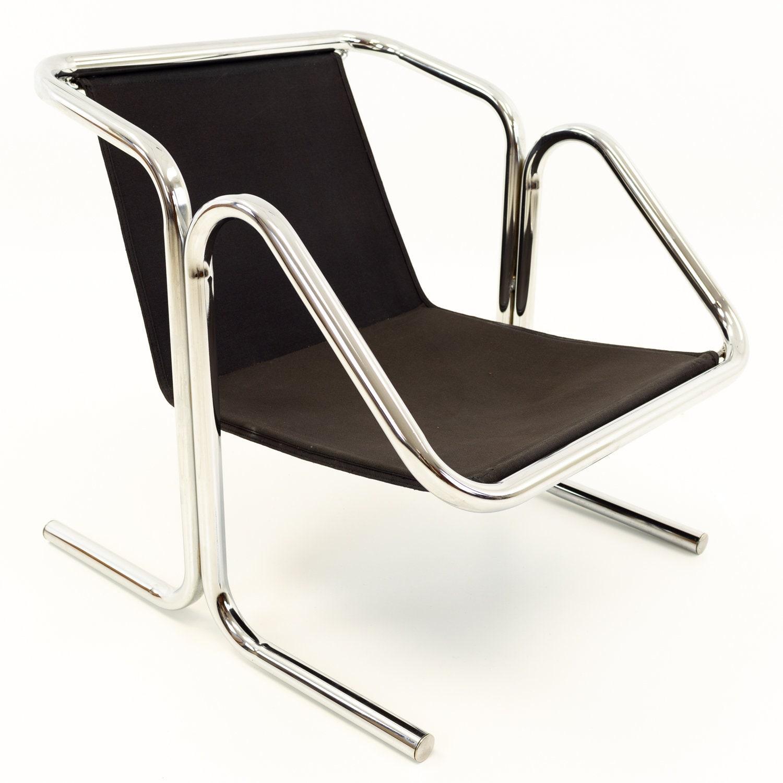 Jerry Johnson Mid Century Chrome Arcadia Sling Lounge Chair Mcm