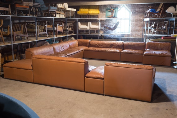 hot sale online 28e17 b2a9b Claudio Salocchi Mid Century Modern 1950s Italian Leather Pit Sectional  Sofa - mcm