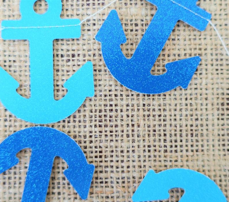 Anchor Garland shimmery blue teal navy sea theme cruise anchor banner party supplies decor boys birthday sea creature navy theme ocean water