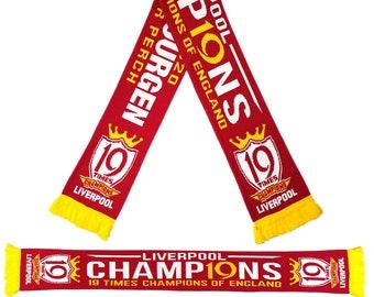 Liverpool Champions of England Premier SCARF JURGEN 2020 Times League 19 Stars