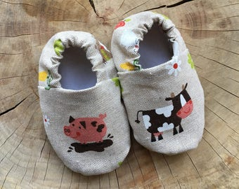 Farm Animals Baby Shoes, Baby Pram Shoes, Baby Booties