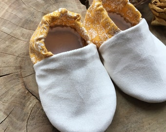 Emily Yellow Soft Baby Shoes, Baby Pram Shoes, Baby Booties