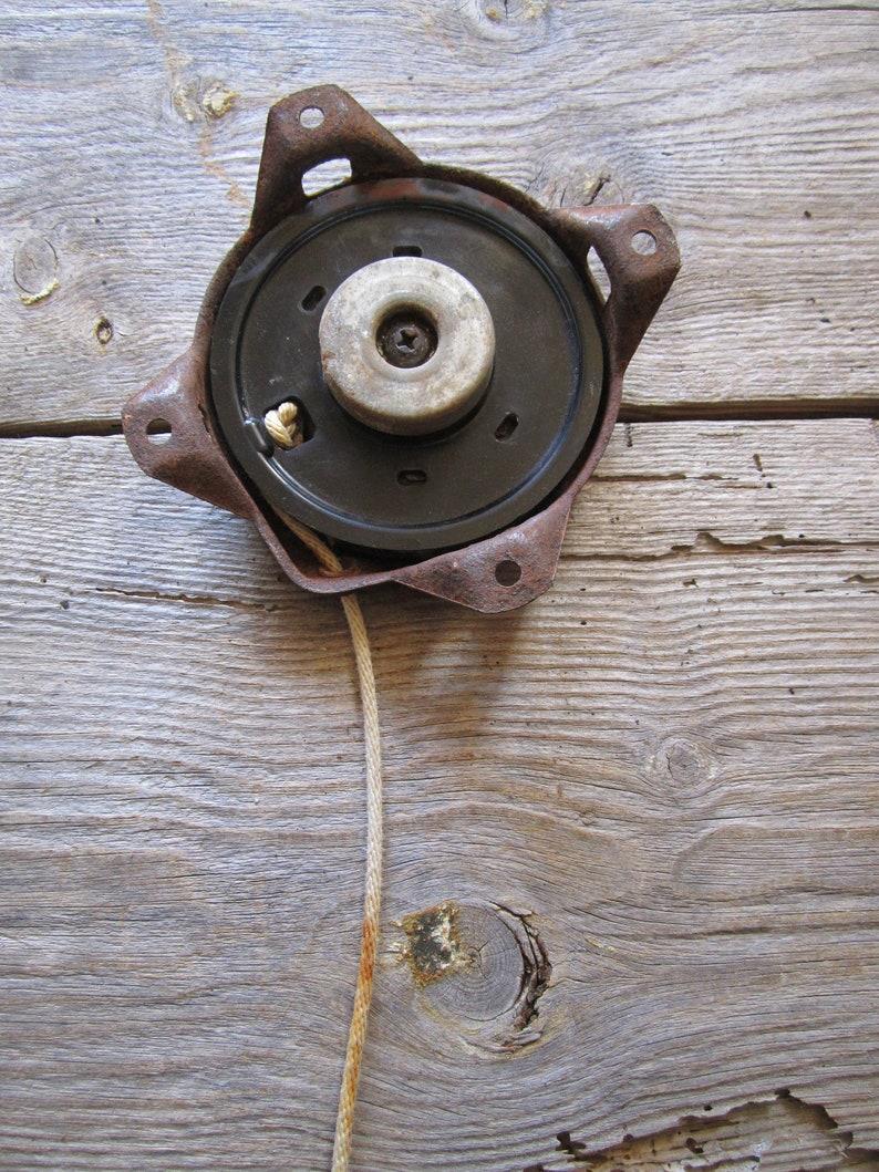 Vintage 1960 Starter motor water engine Pull starter Industrial decor Rusted metal Steampunk decor Altered art Assembled Mixed media Diy