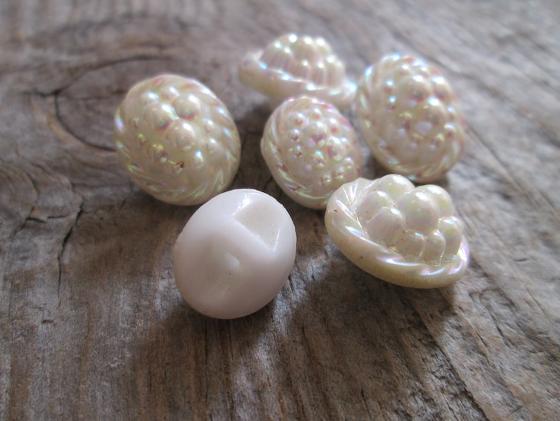 Antique Rare Czech bubble glass White Milk Buttons Carnival Iridescent jewel buttons Sewing craft project Jewelry making Altered art Diy