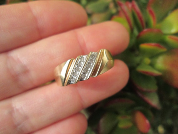Vintage 10K Solid Yellow Gold Natural Tourmaline Engagement Ring Size 6.25