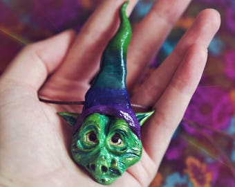 Rainbow Goblin Fantasy Necklace, Creature Pendant, Magical Hat, Elf, Troll, Pixie, OOAK, Hand Sculpted