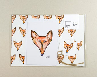 Sly the fox design gift wrapping set