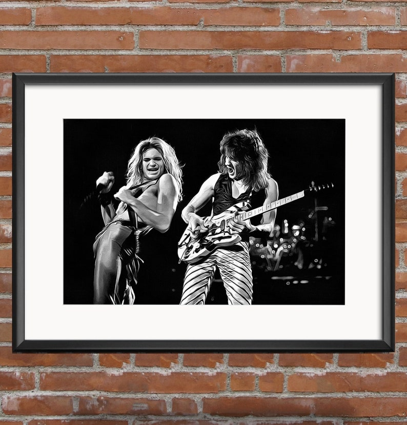 a491d59649a David Lee Roth Edward Van Halen Canvas Art Poster Print Fine