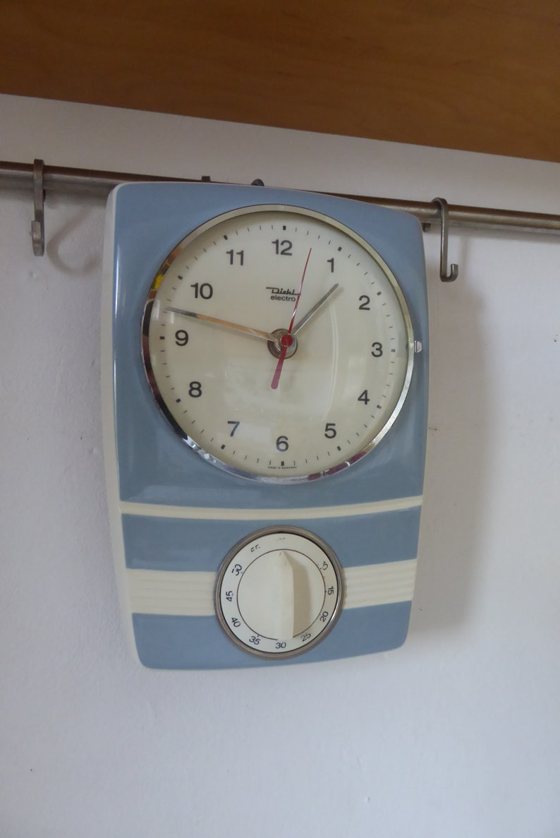 Groovy Diehl Electro Clock Wanduhr Kitchen Clock Timer Blue 60S Vintage Design Home Interior And Landscaping Synyenasavecom