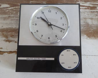 Mauthe electric 80s Kitchenclock wall clock Küchenuhr vintage plastic timer silver black