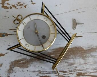 ORFAC horloge metal tabel clock table clock vintage fantastic clock 60s