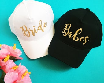 a9a03858a3d78 Bride and Babes Trucker Hat and Baseball Hats - Bridal Party Hats -  Bridesmaids Hats - Bach Bash - Bridal Party Hats - Bachelorette Party
