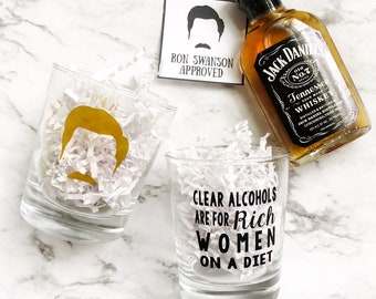 Ron Swanson Dark Alcohol ONLY - Whiskey Glass - Bourbon Glass - Gift For Him - Funny Ron Swanson Glass - Double Sided Glass - Gift for Dad
