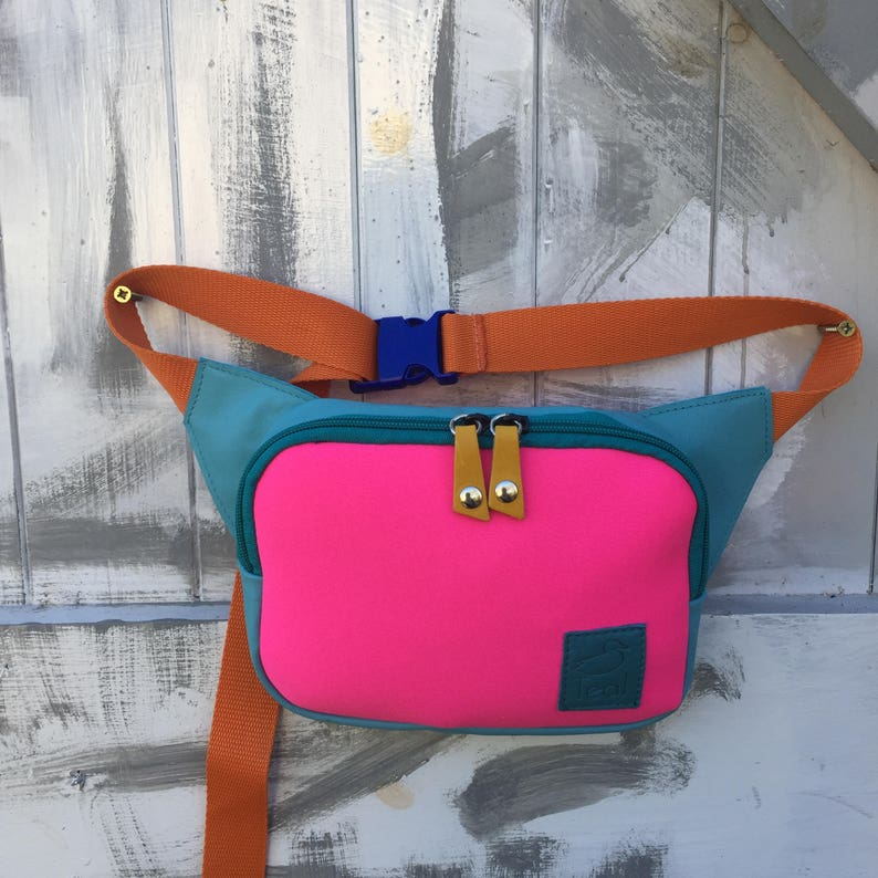 Pink Bum bag neoprene and leather great festival bag image 0