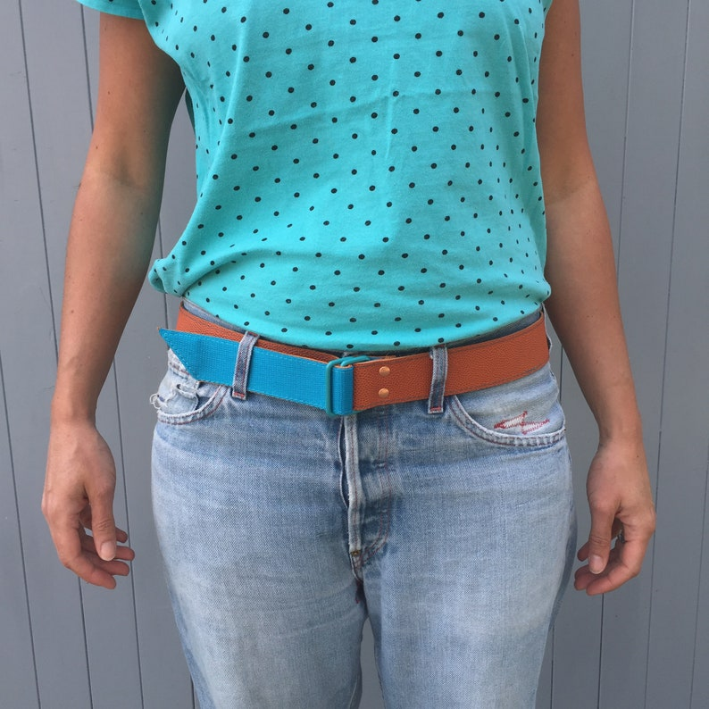 Basketball leather and turquoise webbing belt image 0