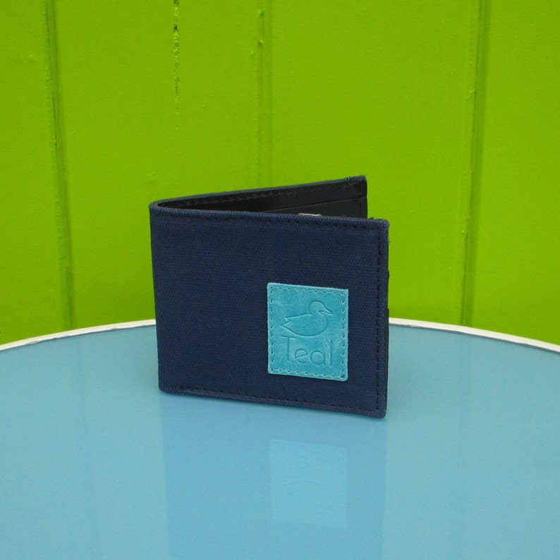 Navy canvas and leather wallet image 0